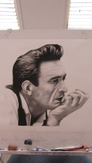 Johnny Cash - charcoal drawing
