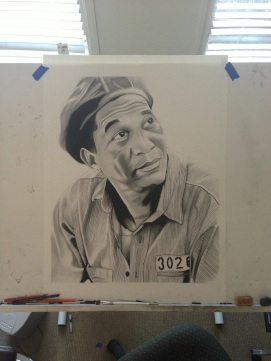 Morgan Freeman - Charcoal drawing