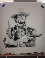 Clint Eastwood - Charcoal drawing