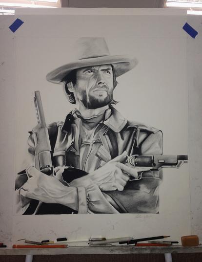 Clint Eastwood - Charcoal drawing