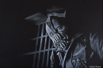 Bane - White on black drawing