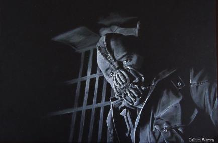 Bane - White on black drawing