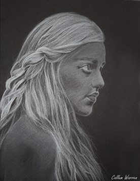 'Queen of the dragons / Game of thrones ' - White on black drawing