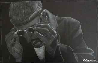 Leon The Professional - White on black drawing
