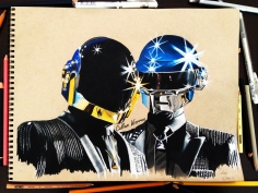 Daft Punk - Prismacolour pencil drawing