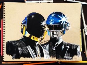 Daft Punk - Prismacolour pencil drawing
