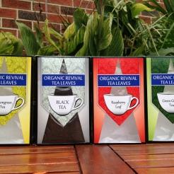 Tea packaging range face panels designs. Black tea showcases the window design when full of tea
