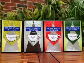 Tea packaging range face panels designs. Black tea showcases the window design when full of tea
