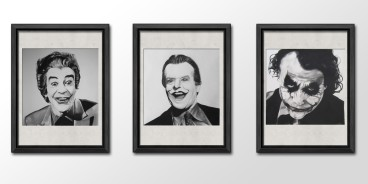 'The Joker' Charcoal portrait timeline series