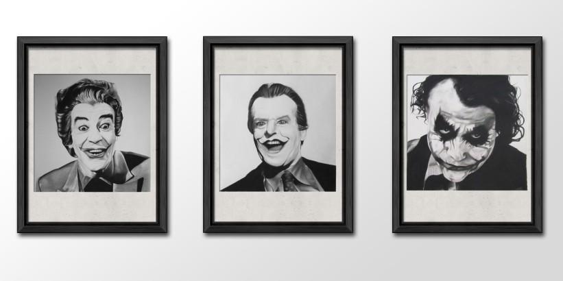 'The Joker' Charcoal portrait timeline series
