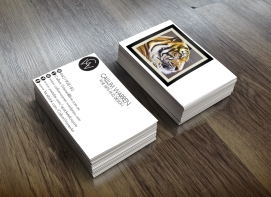 Self Identity business card design. Double sided folding card. Front and back panels