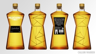 Whisky Bottle Design, influenced by Federation Square in Melbourne