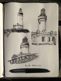 Byron Bay light house pen and ink sketches