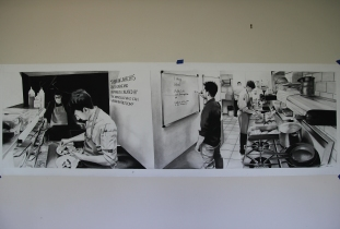 Charcoal Panorama drawing for OMY restaurant