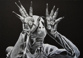 The Pale Man from Pans Labyrinth. White pastel and charcoal on paper