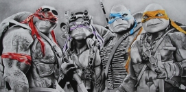 Teenage Mutant Ninja Turtles! Charcoal and prismacolour pencils on paper
